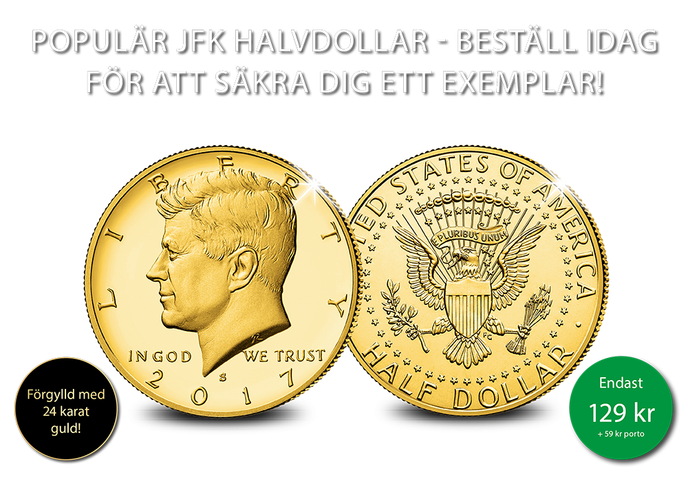 Ikonisk halvdollar förgylld med 24 karat guld