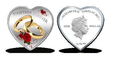 Hjärtformat mynt i 99.9 % silver