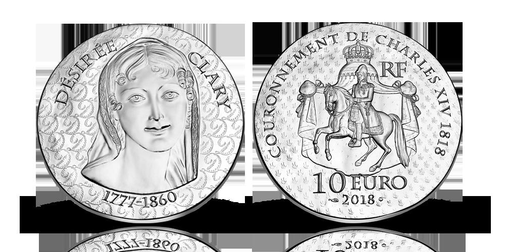 Silvermynt med kung Karl XIV Johan och drottning Desideria