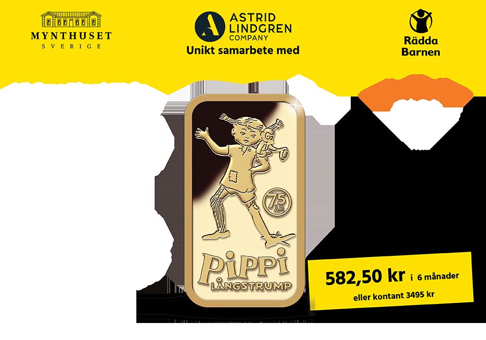 Vi firar Pippi 75 år med en guldtacka i 24 karat