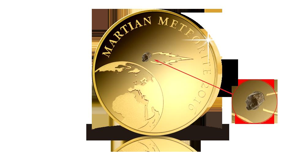 Mynti 99,9 % guld med äkta fragment från planeten Mars