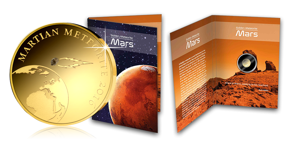 Informativ mapp till mynt i 99,9 % guld med äkta fragment  från planeten Mars