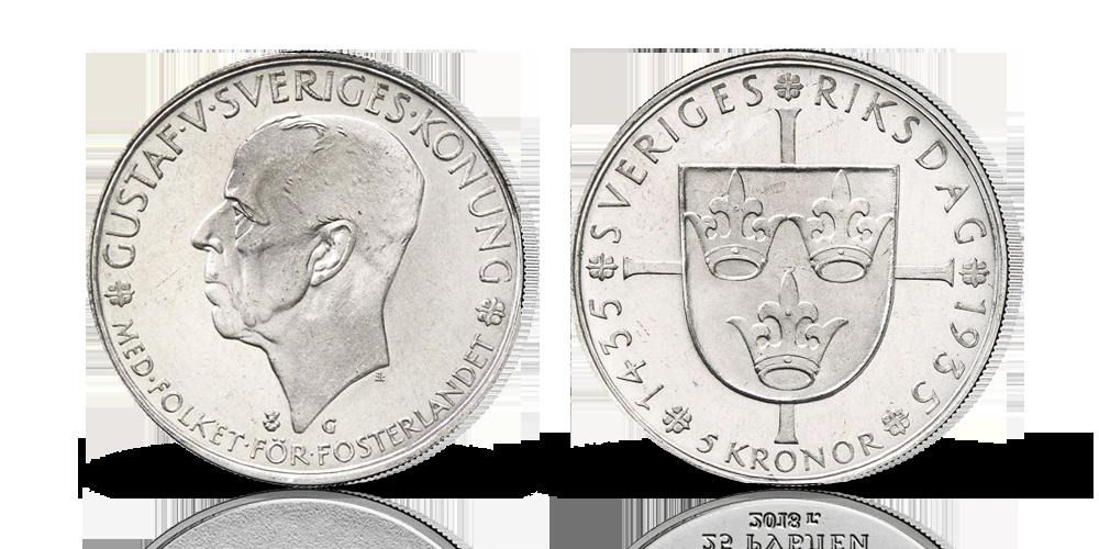 Komplett 5-kronor jubileumsset i silver 1935-1966