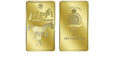$5 Pippi & Lilla Gubben 2020 guldtacka