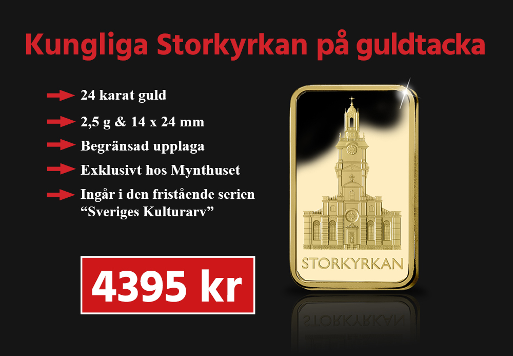 2,5 g guldtacka Storkyrkan
