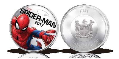 Spiderman på mynt belagd med silver och med inbyggd ljus effekt