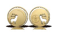 Vackert guldbelagt silvermynt