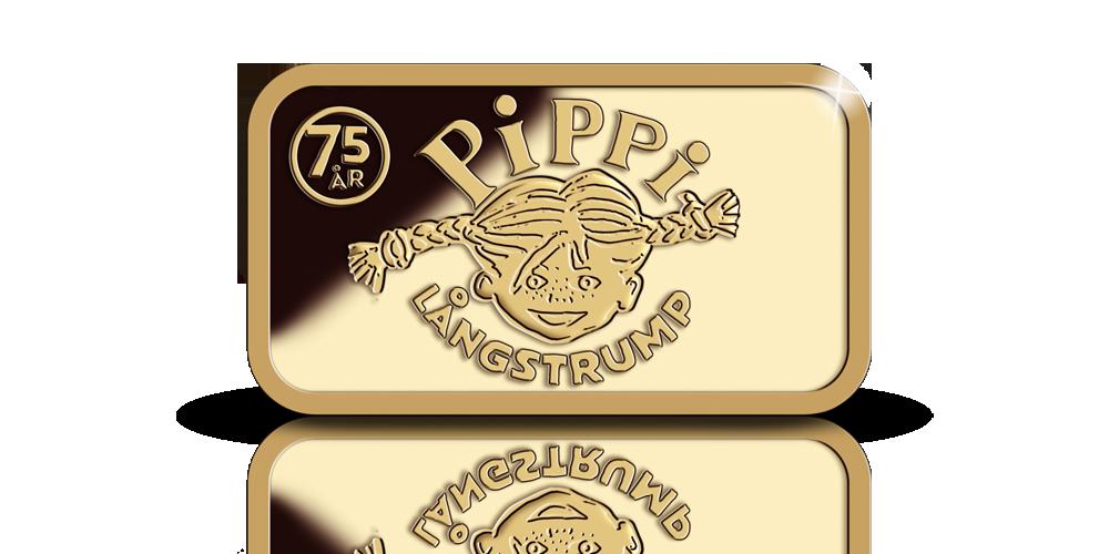 Pippi fyller 75 år- hedras med en5 gram  guldtacka