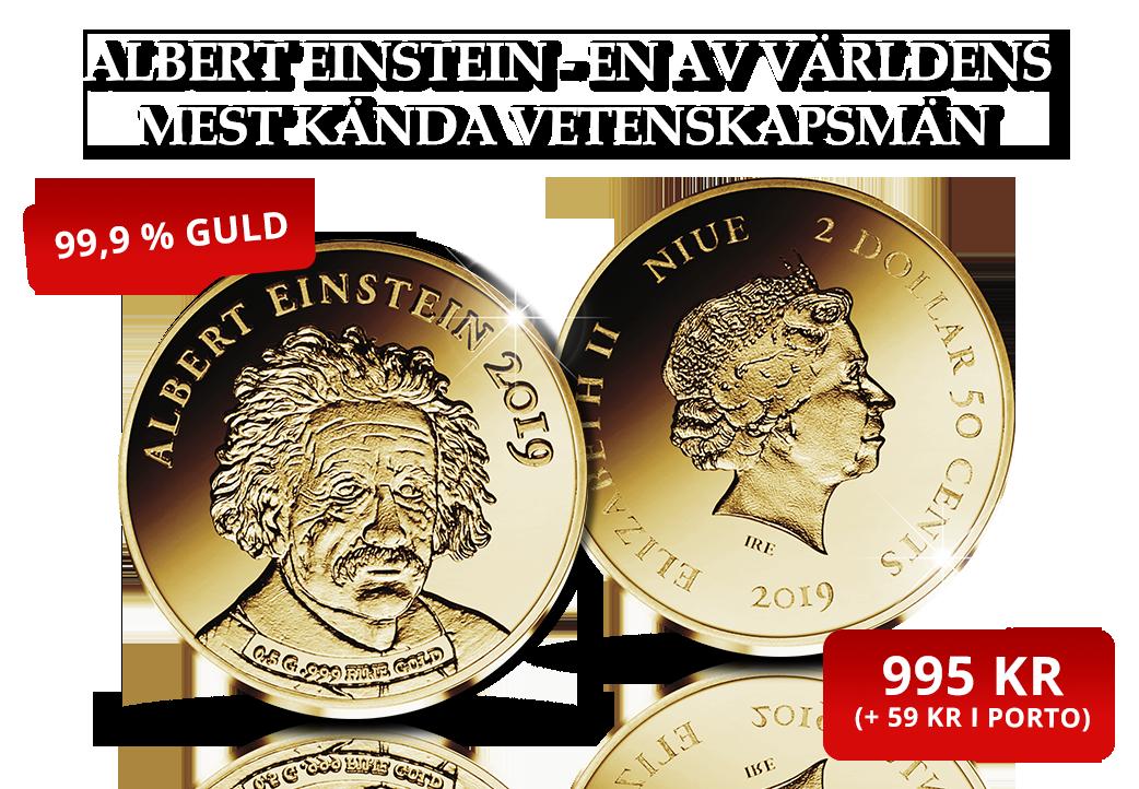 En av världens mest kända vetenskapsmän på ett mynt i 99,9 % guld