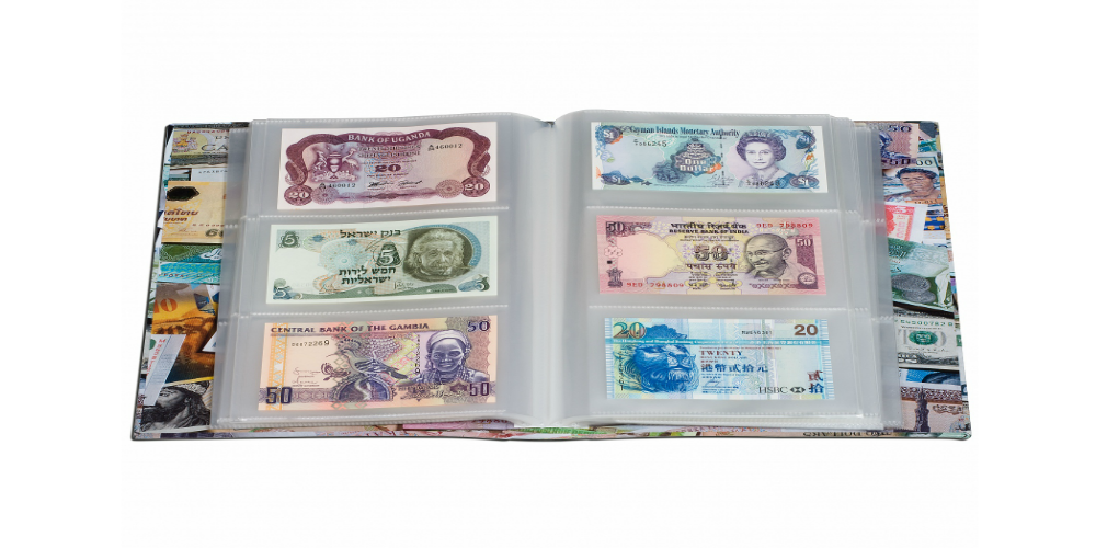 Färgstarkt album till förvaring av sedlar