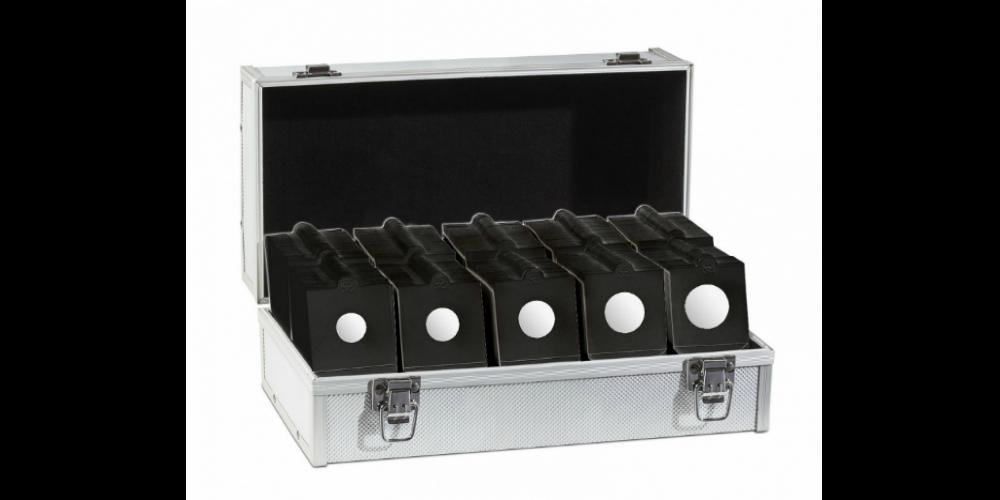 Aluminiumväska med 1000 mynthållare, svart