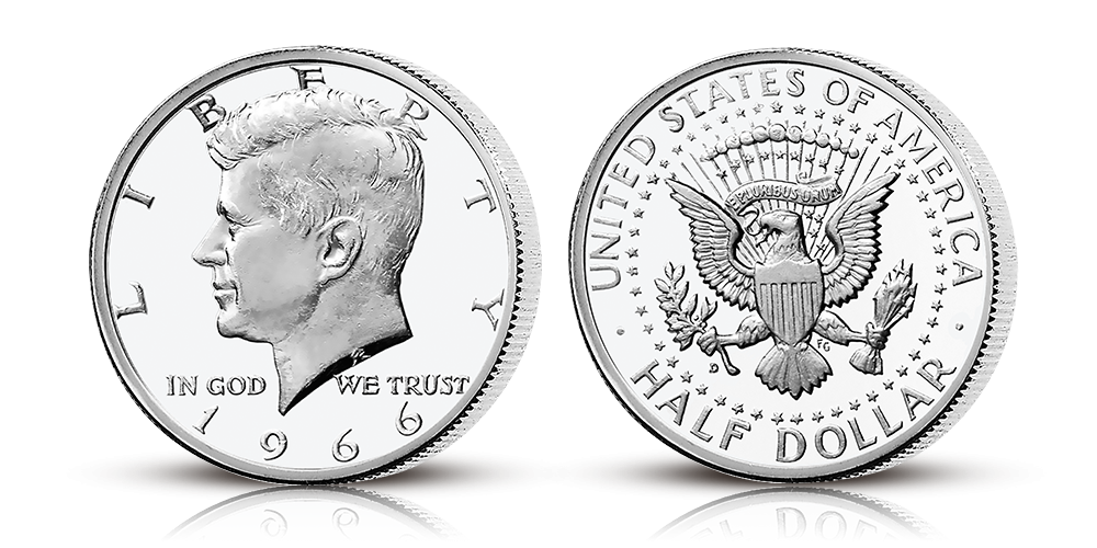 En mycket eftertraktad halvdollar i silver till minne av John F. Kennedy
