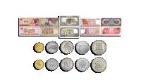 Set med 5 mynt och 5 sedlar från länder med stora antika kulturer
