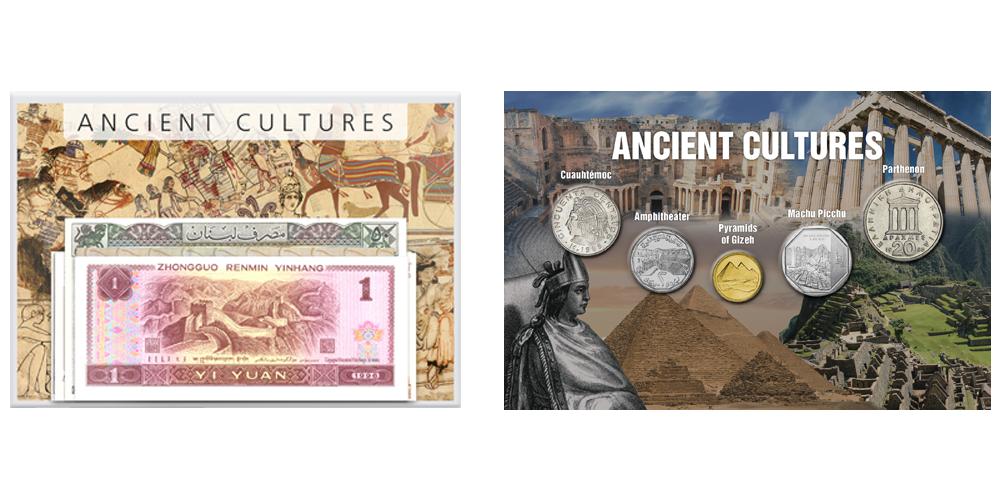 Set med 5 mynt och 5 sedlar från länder med stora antika kulturer i en informativ folder