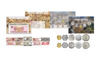 5 mynt och 5 sedlar med fina kulturella motiv från länder med antik kultur som lagt grunden till de samhällen vi lever i idag.
