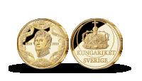 Bernadotte 200 år jubileumsmedalj förgylld med 24 karat guld