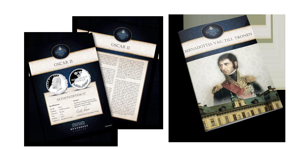 Åkthetscertifikat och booklet - Bernadotte 200 år silvermedaljsamling