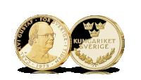 Carl XVI Gustaf medalj förgylld med 24 karat guld