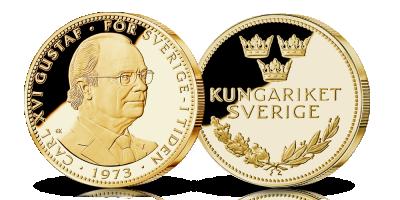 Karl XVI Gustaf-medalj förgylld med 24 karat guld