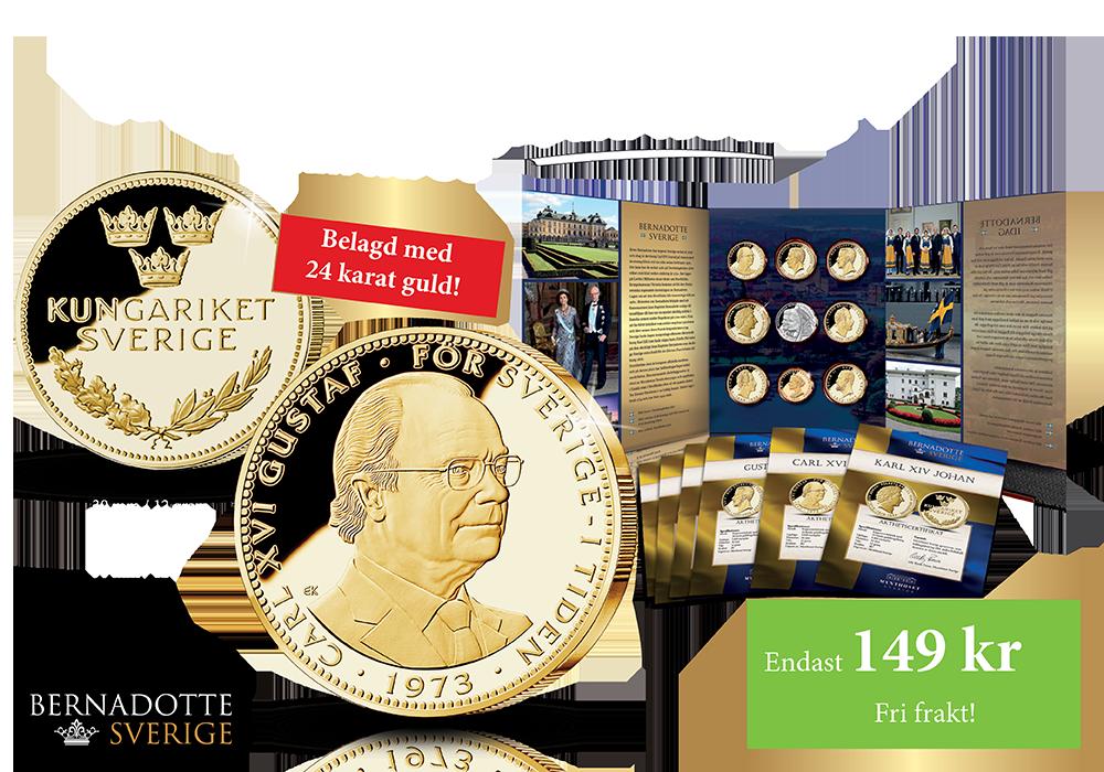Carl XVI Gustaf-medalj förgylld med 24 karat guld nu 149 kr ink porto (ord. 298 kr + porto). Börja samla nu!