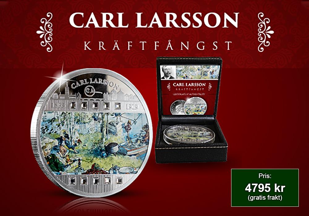 För första gången Carl Larssons akvarell Kräftfångst på ett silvermynt!