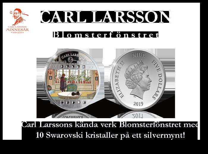 För första gången Carl Larssons akvarell Blomsterfönstret på ett silvermynt!