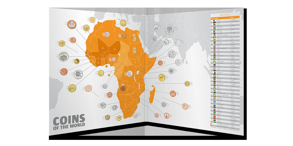 43 mynt från den afrikanska kontinenten
