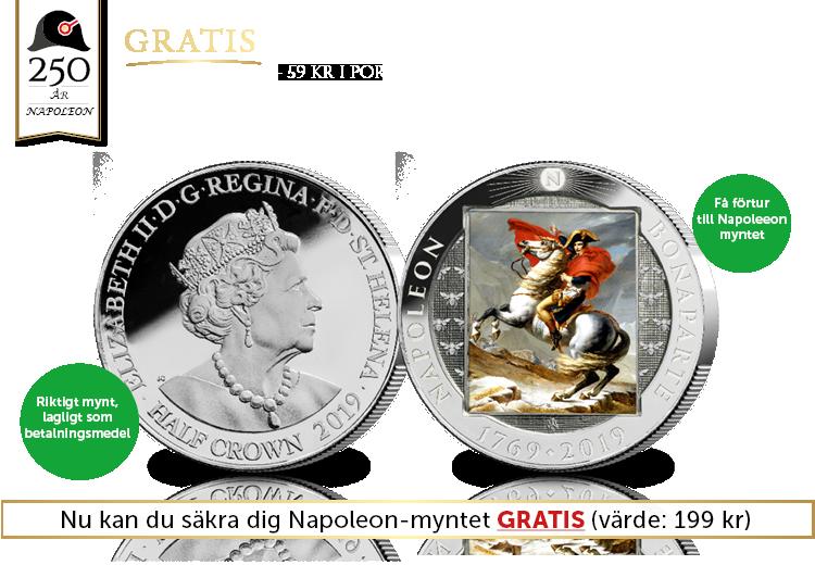 Fira Napoleons 250-årsjubileum med ett Gratis mynt