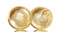 Emil och myssen-mynt i 90 % guld. Myntet väger 10 gram och är 26 mm i diameter. Myntets nominella värde är 10 dollar