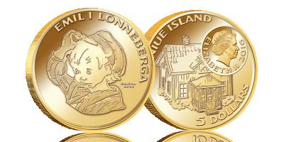 Emil och myssen på ett mynt i 90 % guld