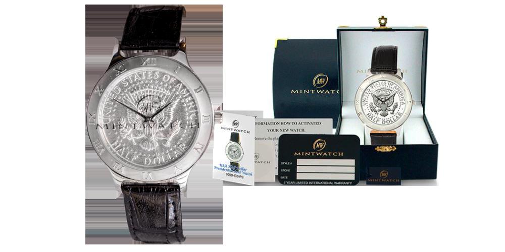 Exklusiv klocka med ett äkta mynt
