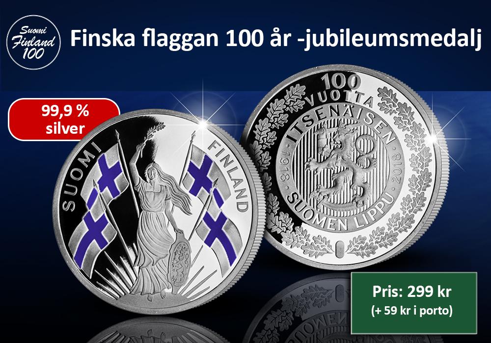 Finska flaggan 100 år -jubileumsmedalj i 99,9 % silver
