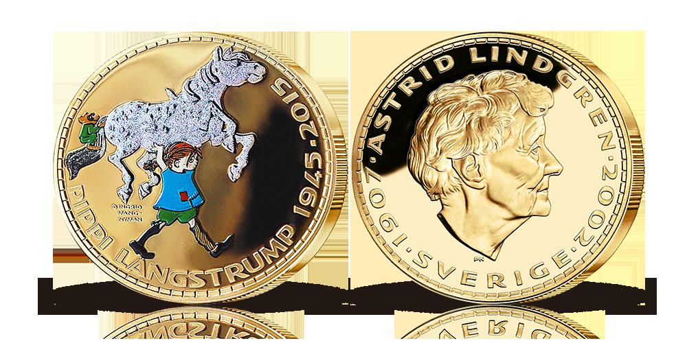 Pippi medalj i kopparnickel förgylld med 24 karat, färg och diamond dust