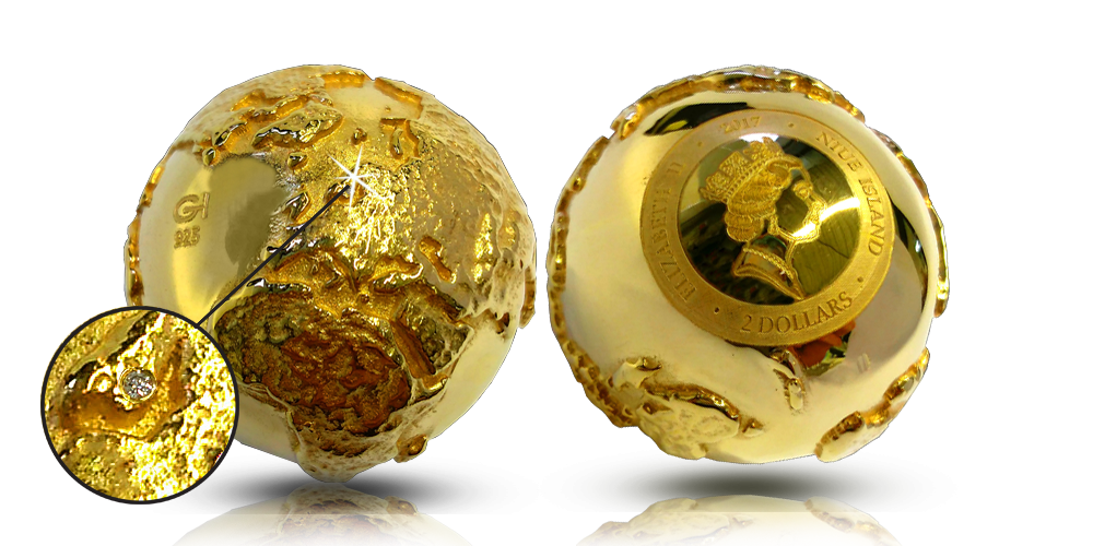 Unikt globformat mynt med en diamant!