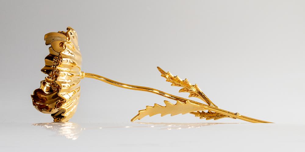 Vacker Vallmo förgylld med 24 karat guld