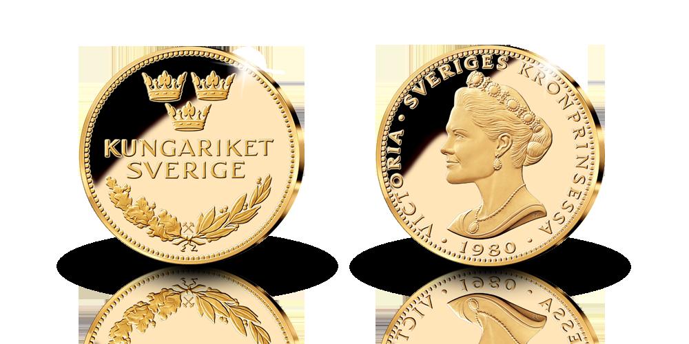 Guldmedalj med Kronprinsessan Victoria i 9 karat guld och hela 25 mm i diameter