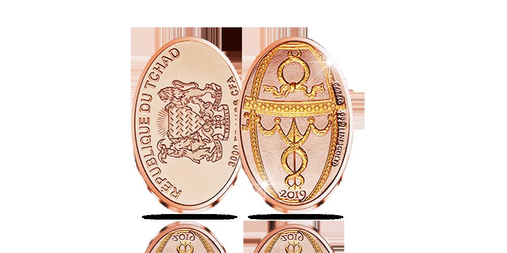 En av världens mest kända ägg, Rosebud av Carl Fabergé på ett mynt i 99,9 % guld