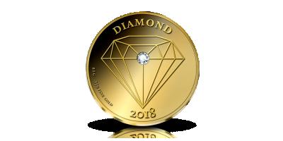 Guldmynt med äkta diamant