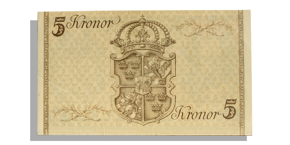 Baksida  jubileumssedel-gustav-v-5kr-sedel-1948