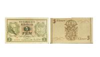 5-kronor jubileumssedel (1948) som hedrar Gustav V:s 90-årsdag