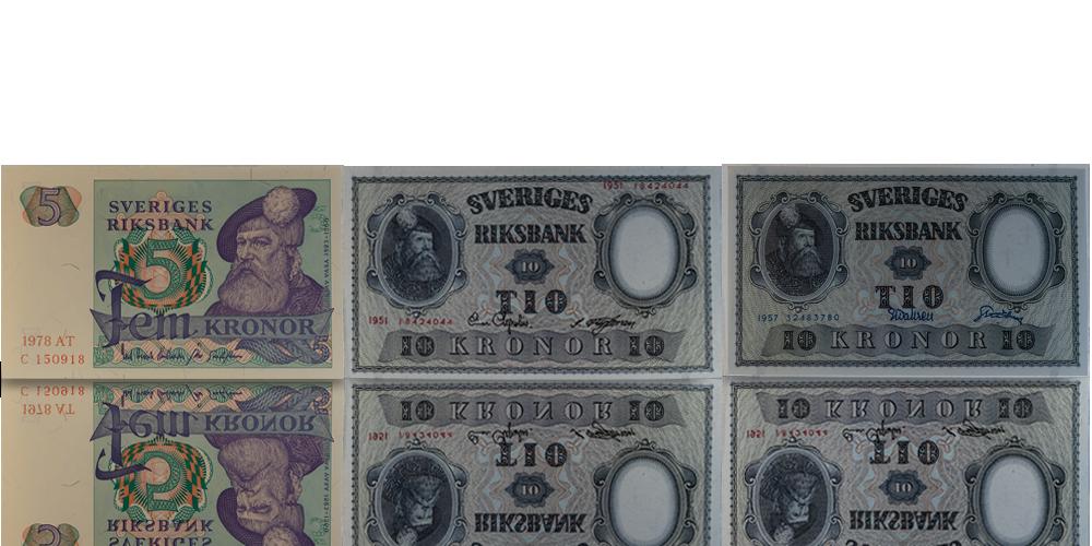 Foklkära sedlar med Gustav Vasa utgivna 1940-1981