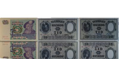 Gustav Vasa set med 3 sedlar 1940-1987