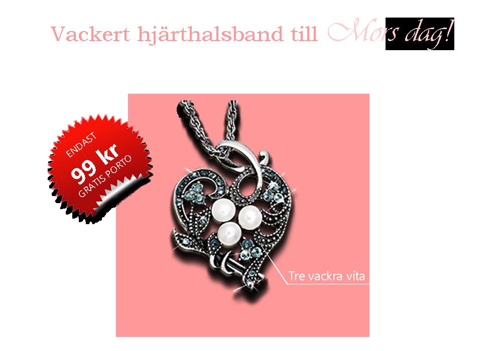 Silverhalsband med hänge i form av ett hjärta smyckat med tre pärlor
