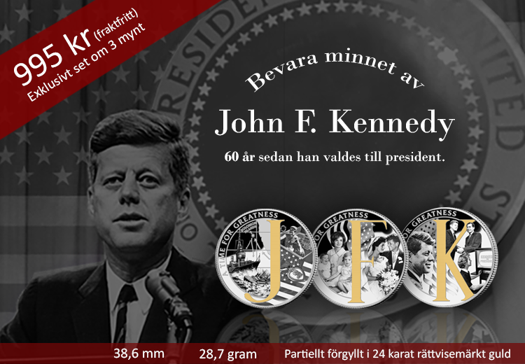 JFK 60 jubileumsset med 3 mynt