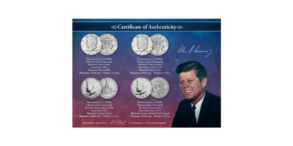 JFK set med fyra mynt från 1964-2014