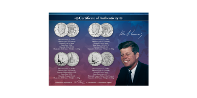 JFK set 1964-2014 with 4 coins
