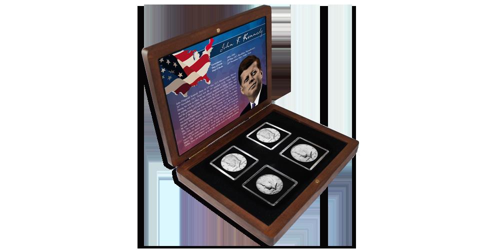 JFK set med fyra mynt från 1964-2014 i ett vackert träskrin