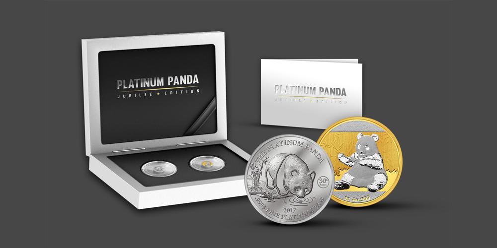 Dubbelt pandaset i renaste guld och renaste platinum
