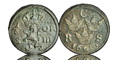 Karl XI 1/6 öre 1666-86 skeppsvraksmynt