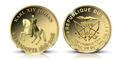 Mynt i 99,9 % guld med Karl XIV Johan